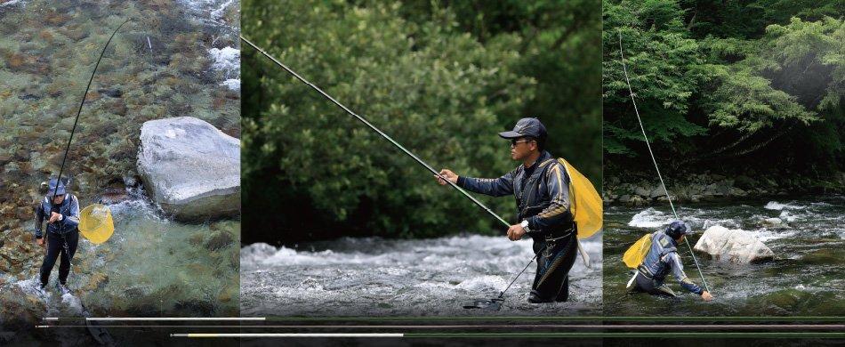短竿を使って鮎釣り